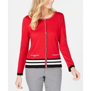Red Striped Cardigan Sweater Size Petite Large
